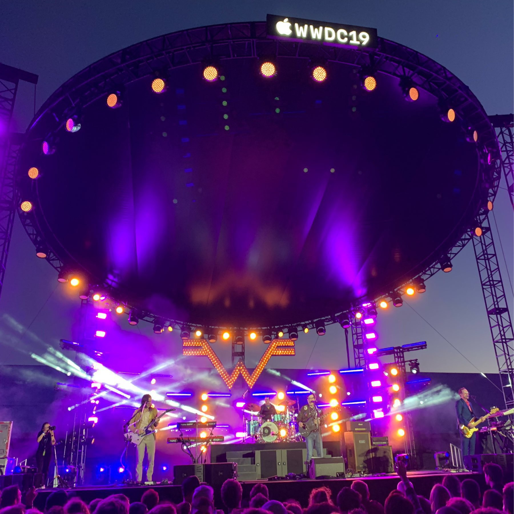 Photo of Weezer on stage at WWDC 2019.